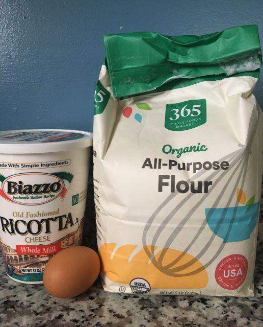 Soft ricotta dumplings-ingredients